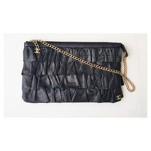 Chanel Ruffle Clutch Black Lambskin w/Gold Chain